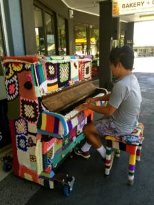 There are many unique pianos around the city. Fully functional if a little out of tune.