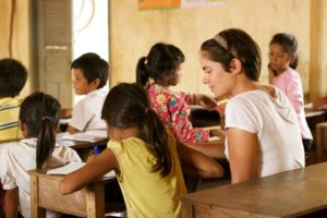 One of our outreach leaders teaching English in a remote village in Cambodia.