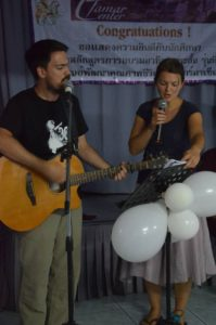 Two of our students leading worship in Southeast Asia.